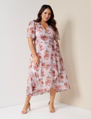 Forever New Emmaline Curve Wrap Maxi Dress - Vintage Blush Botanical - 16