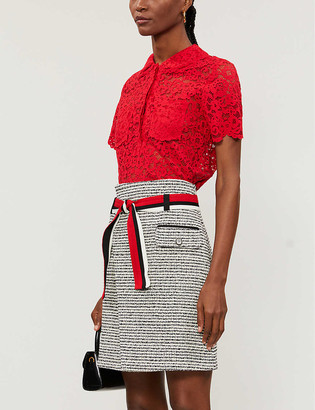 Maje Jenala metallic high-waist cotton-blend mini skirt