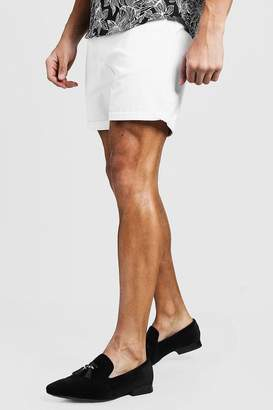 boohoo Mid Length Slim Fit Chino Short In White