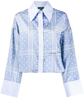 Jejia Cropped Polka-Dot Shirt