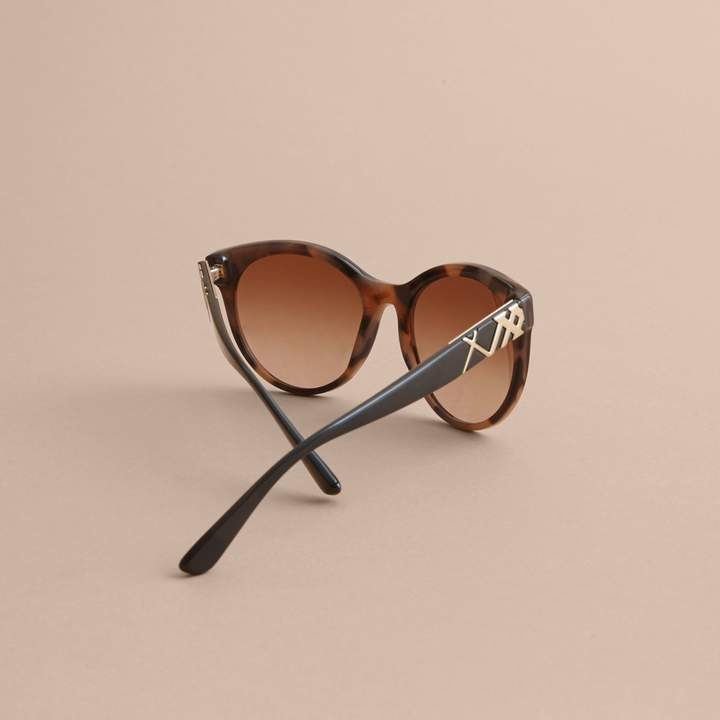 Burberry Check Detail Round Frame Sunglasses
