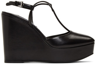 Prada Black Leather Wedge Heels