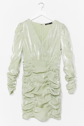 Nasty Gal Womens It's Your Shine Ruched Mini Dress - Green - 4, Green