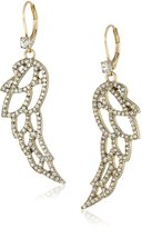 Betsey Johnson Pave Filigree Wing Drop Earring
