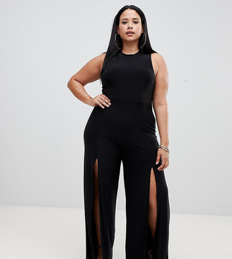 Fashionkilla Plus high neck jumpsuit with front thigh split in black
