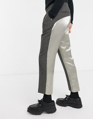 Asos Design DESIGN slim crop smart trousers with wrap belt and contrast satin back in grey