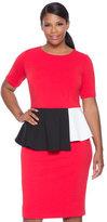 ELOQUII Plus Size Colorblock Peplum Dress