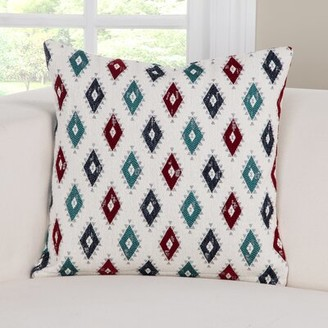 "PoloGear Cherokee Accent Throw Pillow Size: 16"" H x 16"" W x 6"" D, Color: Blue/Teal/Red"