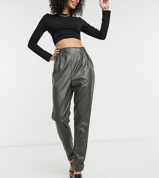 Asos Tall ASOS DESIGN Tall jersey leather look tapered suit pants in forest green