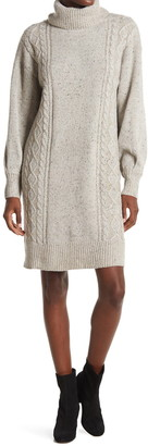 Stitchdrop Balloon Sleeve Cable Knit Sweater Dress