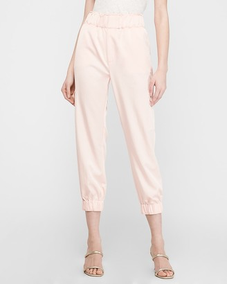 Express High Waisted Satin Cargo Jogger Pant