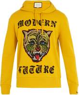 Gucci Angry Cat-appliqué hooded cotton sweatshirt