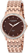 Akribos XXIV Women's AK620RG Lady Diamond Swiss Quartz Diamond and Crystal Rose-tone Stainless Steel Bracelet Watch