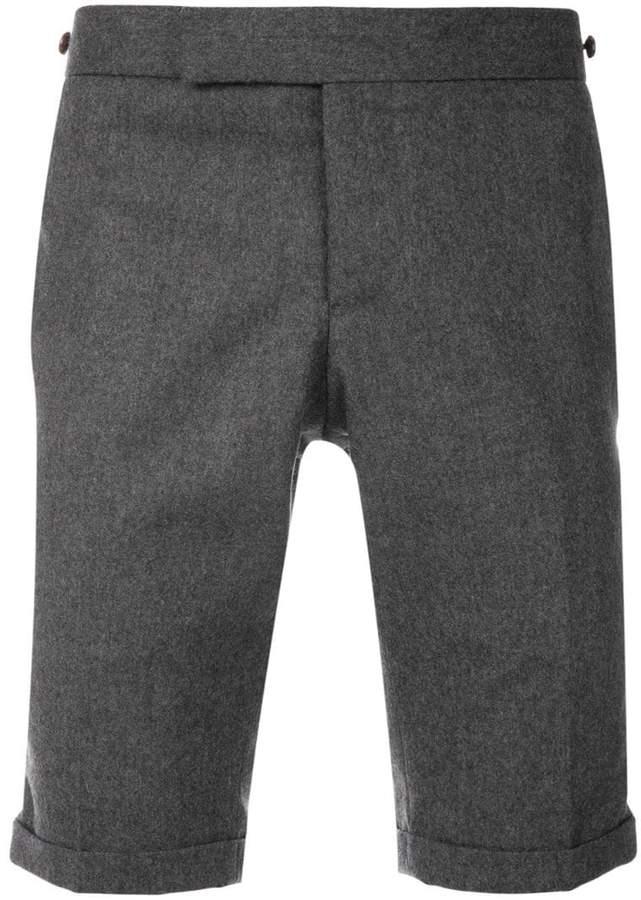 Thom Browne Seamed Elastic Stripe Skinny Wool Shorts