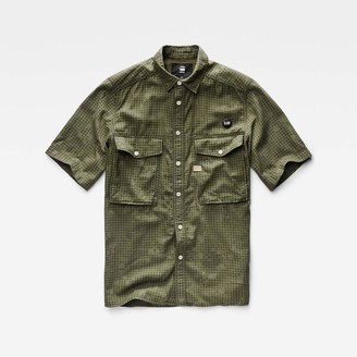 G Star Men's Type C Straight Shirt Short Sleeve Monta BW Infra Red Camo A