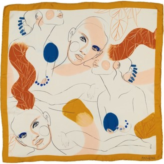 The Pathline Mustard Yellow Women Faces Square Silk Scarf