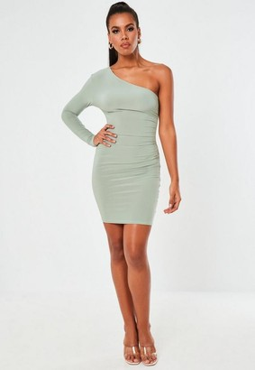 Missguided Green Slinky Seam Free One Shoulder Mini Dress