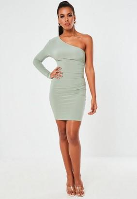 Missguided Slinky Seam Free One Shoulder Mini Dress