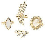 Charlotte Russe Plus Size Embellished Leaf Statement Rings - 4 Pack