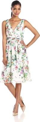 Donna Morgan Women's Jessie Short Bra Friendly Chiffon Printed Dress