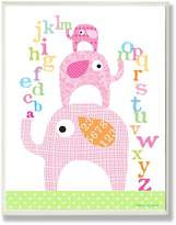 Stupell Industries The Kids Room by Stupell Pink Elephants with Alphabet Rectangle Wall Plaque