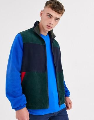 Asos Design DESIGN reversible fleece jacket in colour block-Multi