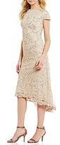 Tadashi Shoji Cap Sleeve Tea-Length Lace Dress