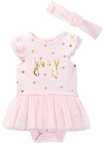 Juicy Couture Glitter Heart Print Tutu Bodysuit & Headband Set (Baby Girls 0-9M)