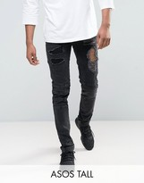 Asos TALL Skinny Jeans With Biker Zip And Rips Details In Washed Black