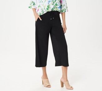 Susan Graver Every Day by Liquid Knit Drawstring Crop Pants