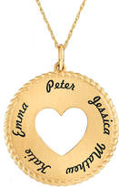 JCPenney FINE JEWELRY Personalized 10K Yellow Gold Round Disc Heart Pendant Necklace