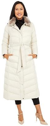 Lauren Ralph Lauren Soft Belted Puffer Coat w/ Faux Fur Collar (Light Beige) Women's Coat