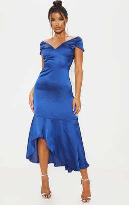 PrettyLittleThing Midnight Blue Ruched Skirt Frill Hem Midi Dress