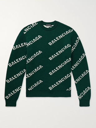 Balenciaga Logo-Intarsia Wool-Blend Sweater