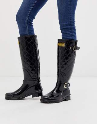 Barbour International high gloss quilted wellies with buckle details-Black