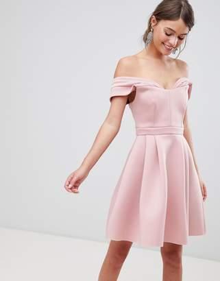 Bardot Asos Design ASOS Cold Shoulder Mini Prom Dress-Pink