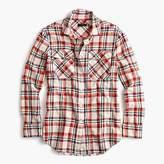 J.Crew Petite boyfriend shirt in coral plaid