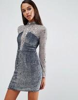 Asos NIGHT High Neck Embellished Mini Dress