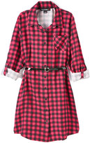 Almost Famous Black & Red Plaid Button-Up Belted Dress - Girls