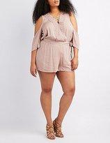 Charlotte Russe Plus Size Crochet-Trim Cold Shoulder Romper