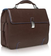 "Piquadro Blue Square - Leather 15"" Laptop Briefcase"