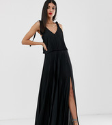 Asos Tall DESIGN Tall tie shoulder pleated crop top maxi dress