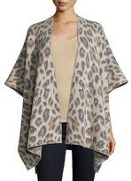 Neiman Marcus Double-Knit Cashmere Leopard Shawl