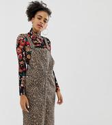 Monki leopard print midi dungaree dress in brown