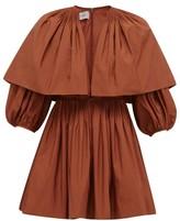 Valentino Caped V-neck Pleated Cotton-blend Mini Dress - Womens - Brown