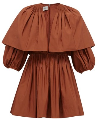 Valentino Caped V-neck Pleated Cotton-blend Mini Dress - Brown