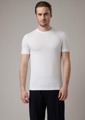 Giorgio Armani Stretch Viscose Jersey T-Shirt With Ga Embroidery