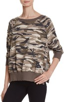 Honey Punch Distressed Side Slit Camo Sweatshirt