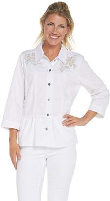 Joan Rivers Classics Collection Joan Rivers 3/4 Sleeve Embroidered Denim Jacket