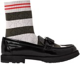 Fendi 30mm Sock & Polished Leather Loafers